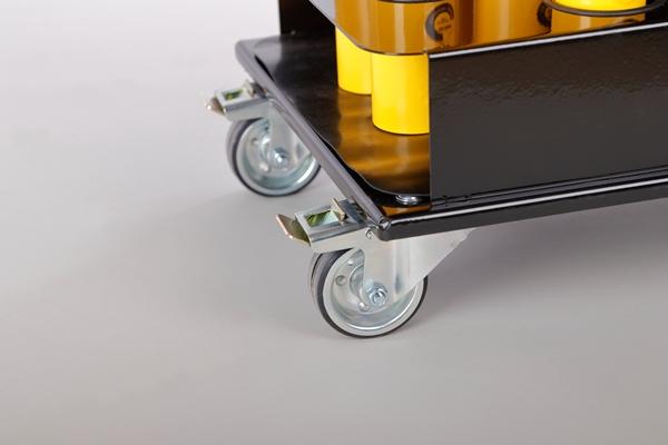 Sperrpfosten Set mit Transportwagen gelb-schwarz