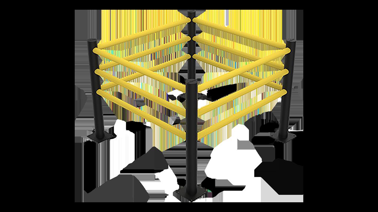 Protecteur carré flexible, poteaux noires, barres jaunes