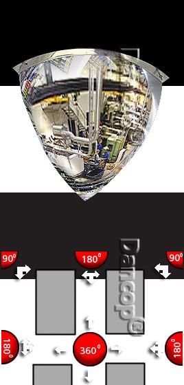 Miroir coupole 90° pour des coins