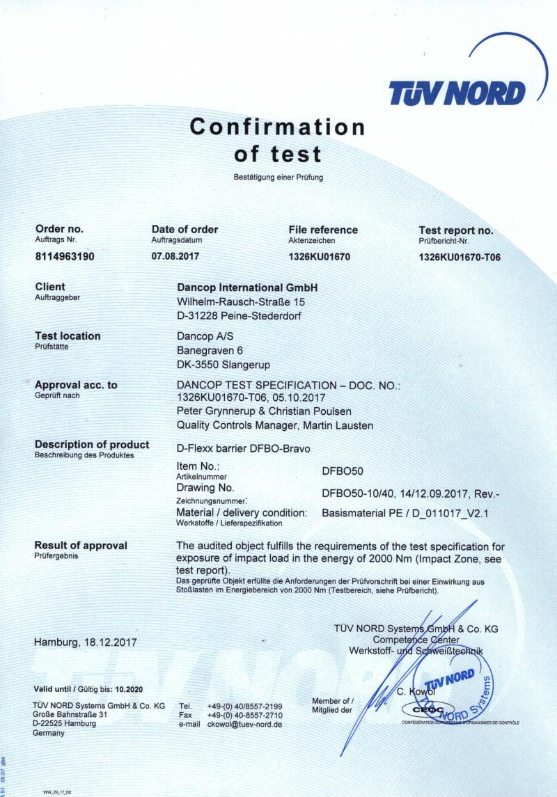 "TÜV Confirmation - d-flexx / Flexible Bollards ""Bravo"""
